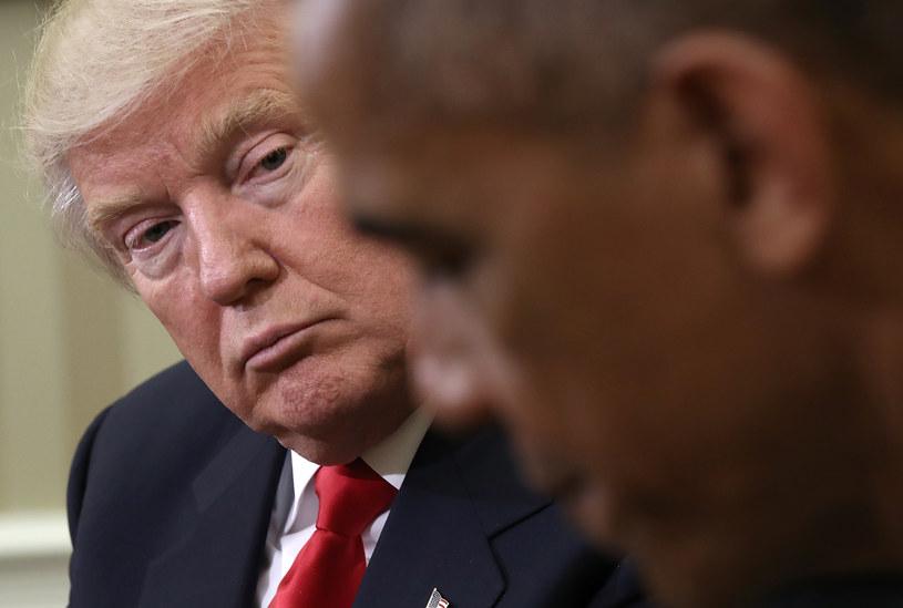 Donald Trump podczas spotkania z Barackiem Obamą w Białym Domu /Getty Images