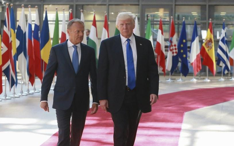 Donald Trump podczas wczorajszego spotkania z Donaldem Tuskiem /PAP/EPA