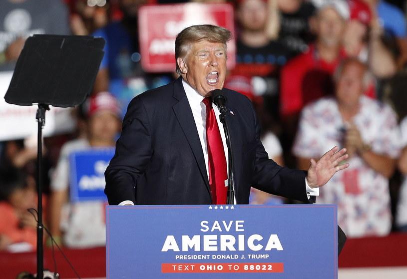 Donald Trump podczas wiecu w stanie Ohio /DAVID MAXWELL /PAP/EPA