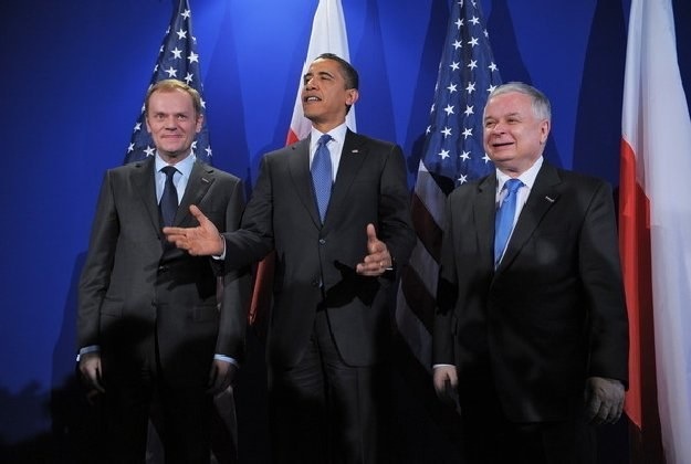 Donald Tusk, Barack Obama i Lech Kaczyński /AFP
