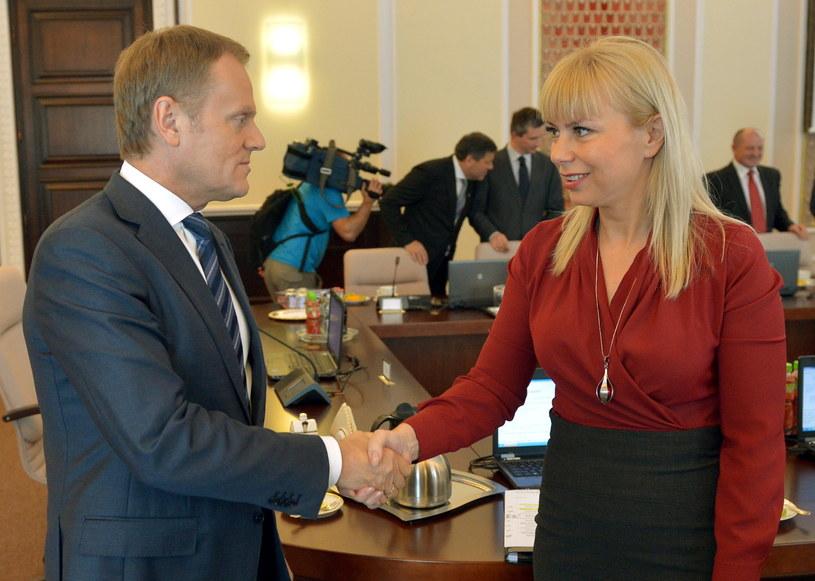 Donald Tusk, Elżbieta Bieńkowska /Radek Pietruszka /PAP