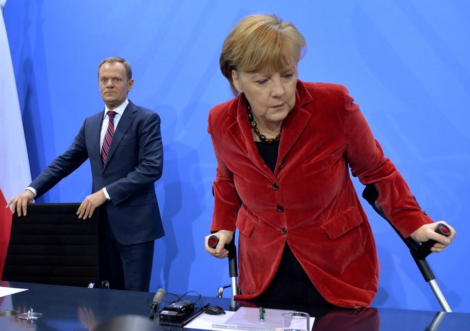 Donald Tusk i Angela Merkel /Radek Pietruszka /PAP