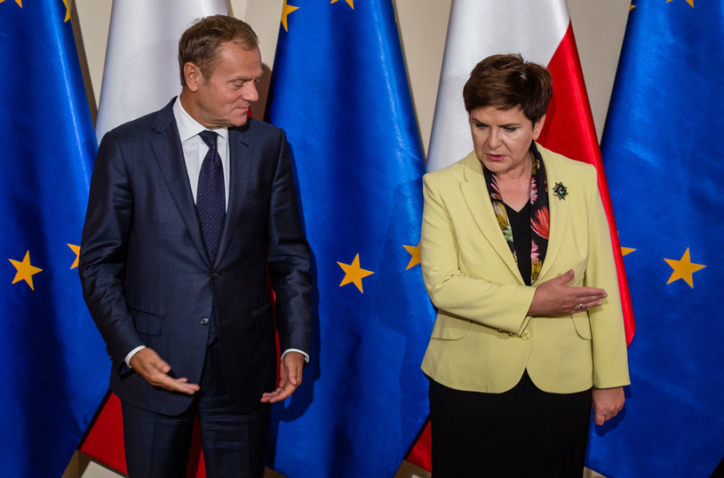 Donald Tusk i Beata Szydło /Wojtek Radwański /AFP