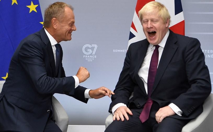 Donald Tusk i Boris Johnson podczas spotkania w trakcie szczytu G7 /ANDREW PARSONS / POOL /PAP/EPA