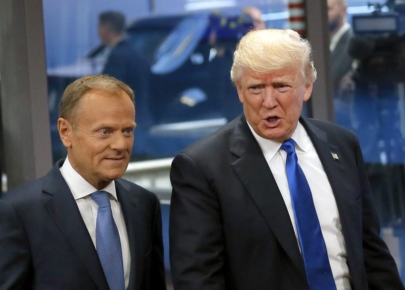 Donald Tusk i Donald Trump podczas spotkania w Brukseli /PAP/EPA