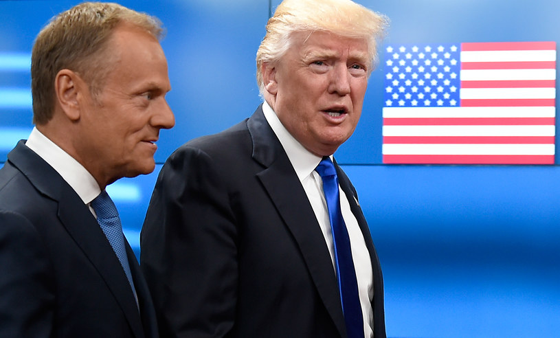Donald Tusk i Donald Trump /THIERRY CHARLIER /AFP