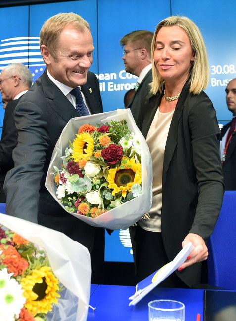 Donald Tusk i Federica Mogherini /PAP/Radek Pietruszka    /PAP