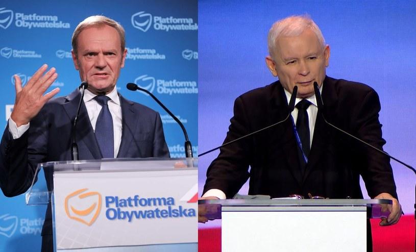 Donald Tusk i Jarosław Kaczyński /PAP/Wojciech Olkuśnik/Polsat News /