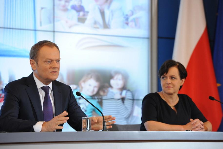 Donald Tusk i Joanna Kluzik-Rostkowska na konferencji prasowej /PAP/Jacek Turczyk /PAP