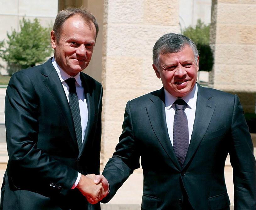 Donald Tusk i król Jordanii /PAP/EPA