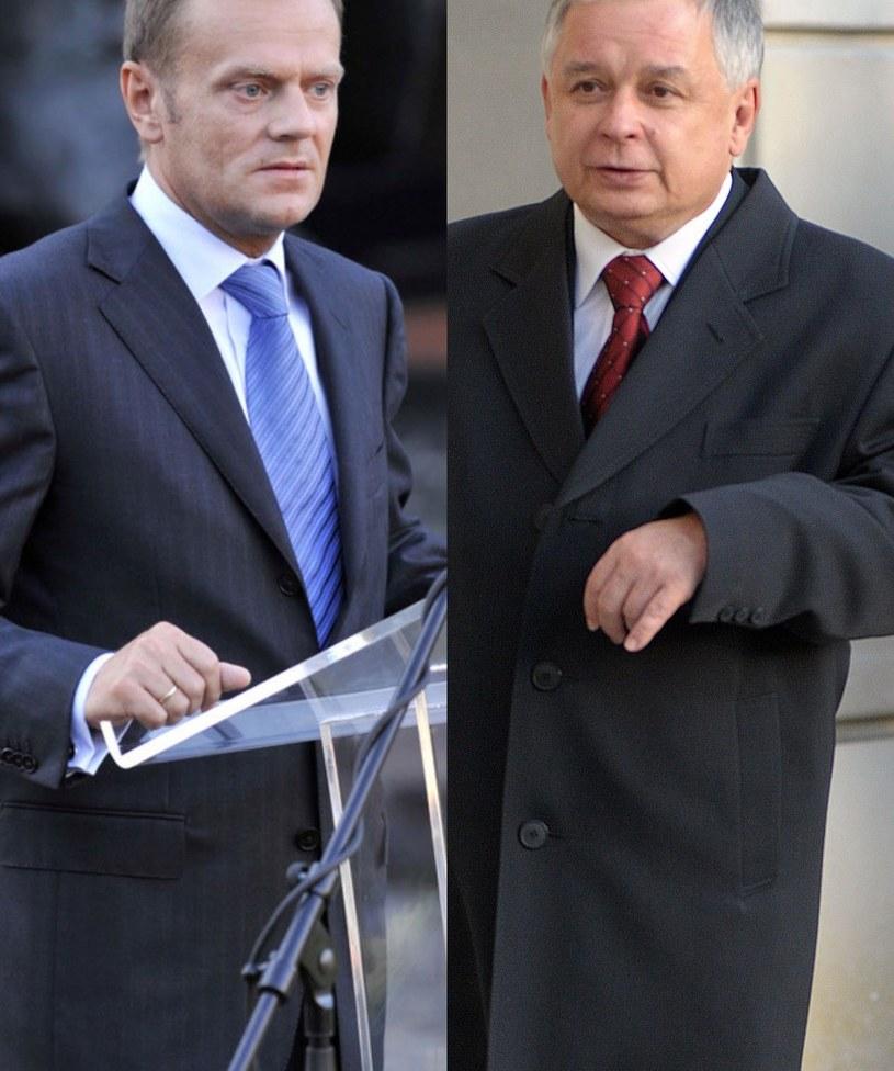 Donald Tusk i Lech Kaczyński /ForumGwiazd /Agencja FORUM