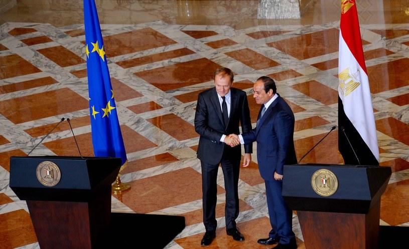 Donald Tusk i prezydent Egiptu Sisi /AFP