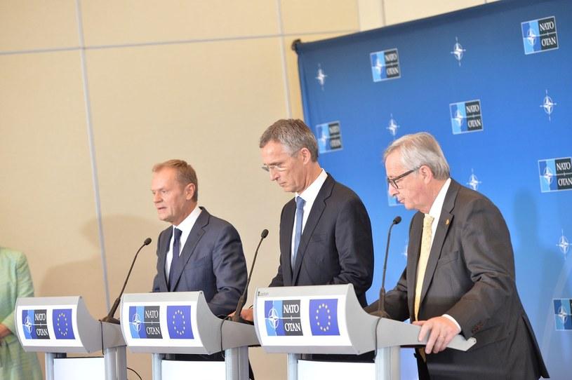 Donald Tusk, Jens Stoltenberg i Jean-Claude Juncker /East News