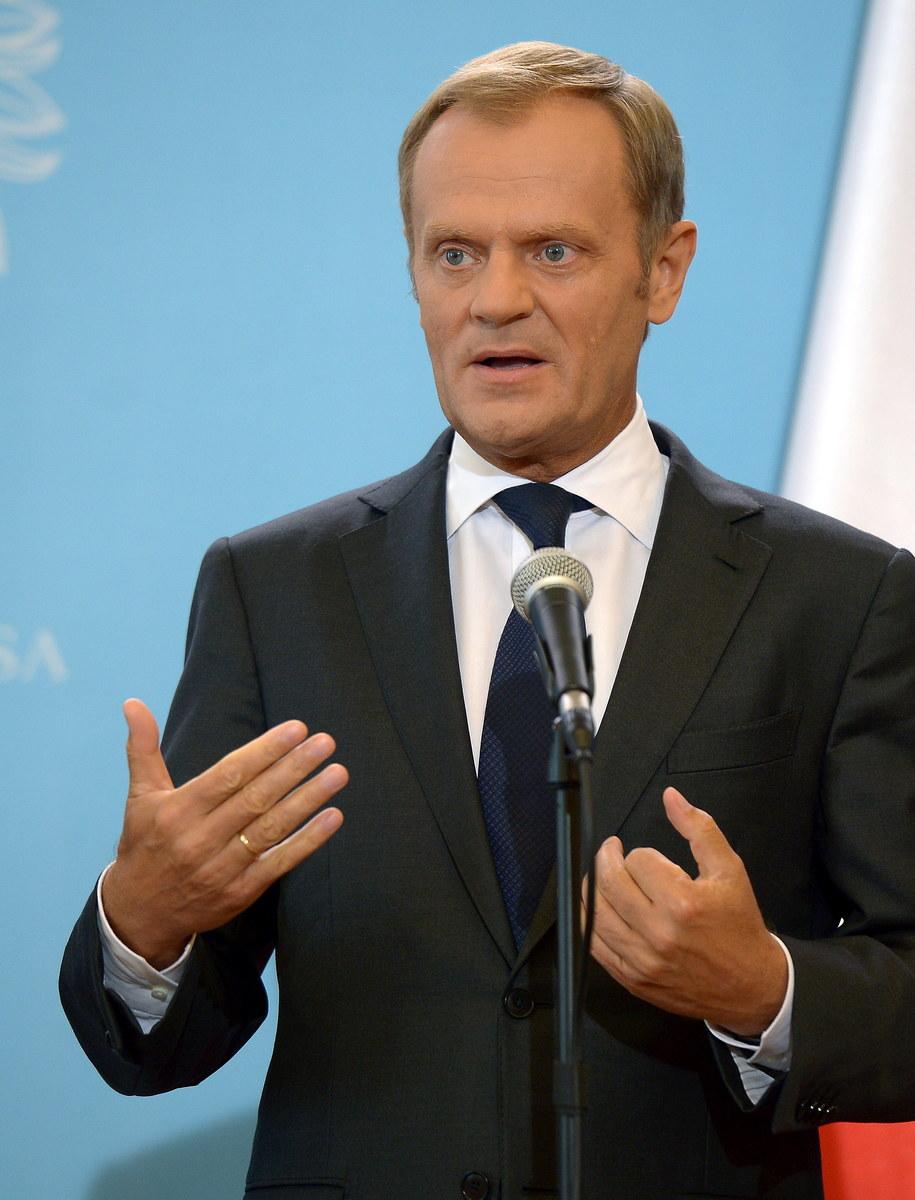 Donald Tusk na konferencji prasowej /Radek Pietruszka /PAP