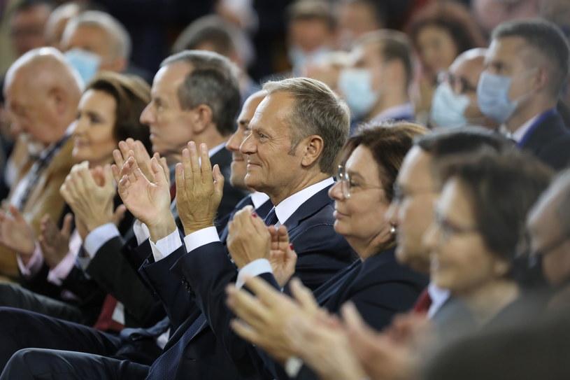Donald Tusk na Konwencji PO /PAP/Wojciech Olkuśnik /PAP