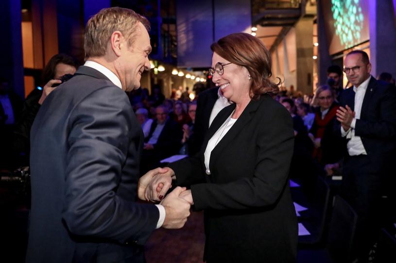 Donald Tusk oraz kandydatka PO w wyborach prezydenckich Małgorzata Kidawa-Błońska /Leszek Szymański /PAP