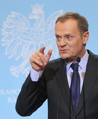 Donald Tusk podczas konferencji prasowej po posiedzeniu rządu /PAP