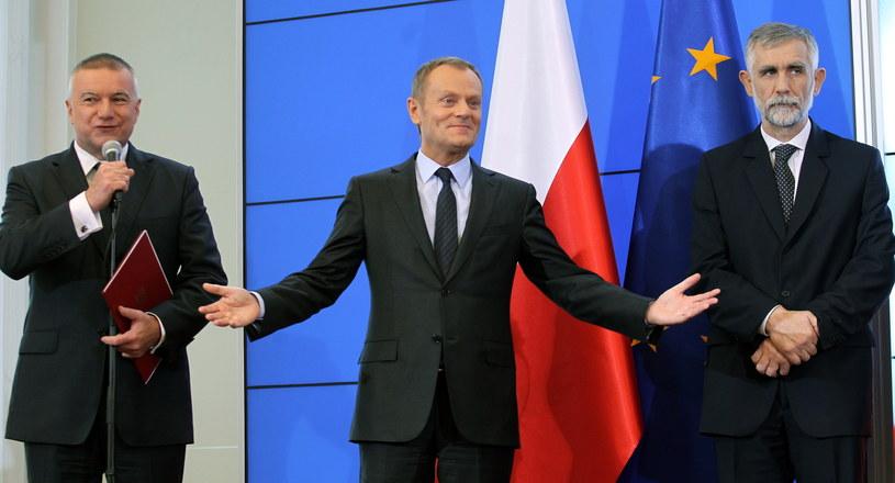 Donald Tusk podczas konferencji prasowej w związku z rekonstrukcją rządu /Radek Pietruszka /PAP