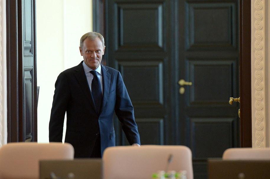 Donald Tusk podczas posiedzenia rządu /Radek Pietruszka /PAP