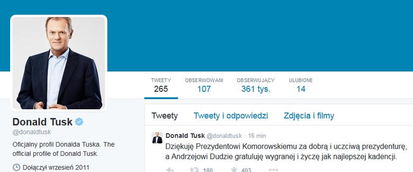Donald Tusk podziękował na Twitterze Bronisławowi Komorowskiemu /Twitter