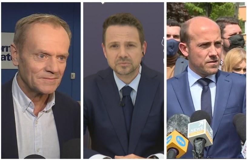 Donald Tusk, Rafał Trzaskowski i Borys Budka /Polsat News