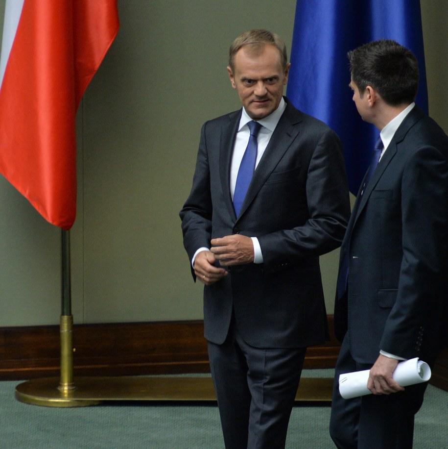 Donald Tusk w Sejmie /Jacek Turczyk /PAP