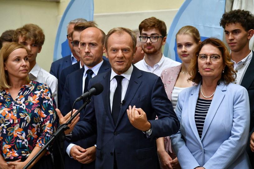 Donald Tusk w Szczecinie /Marcin Bielecki /PAP