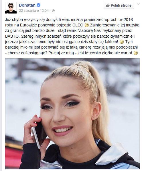 Donatan o Cleo na Eurowizji /