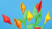 Doniczka z kwiatami z makaronu