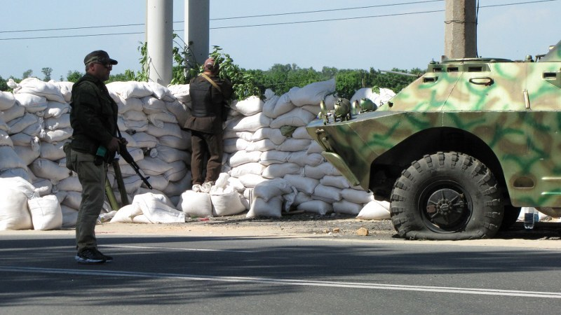 Donieck. Punkt kontrolny prorosyjskich separatystów (czerwiec 2014) /Przemysław Marzec /Archiwum RMF FM