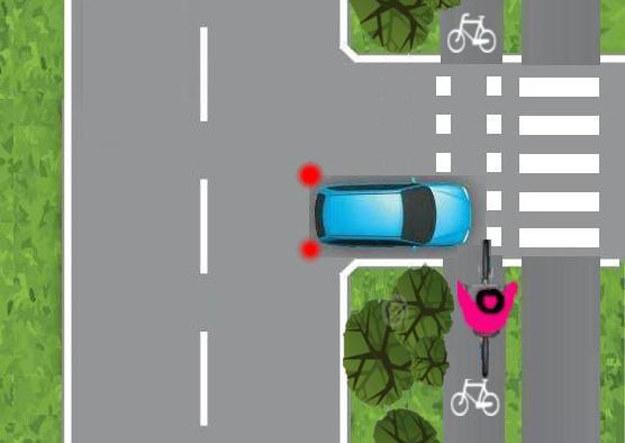 Dopiero w tym momencie kierowca może zobaczyć rowerzystę /
