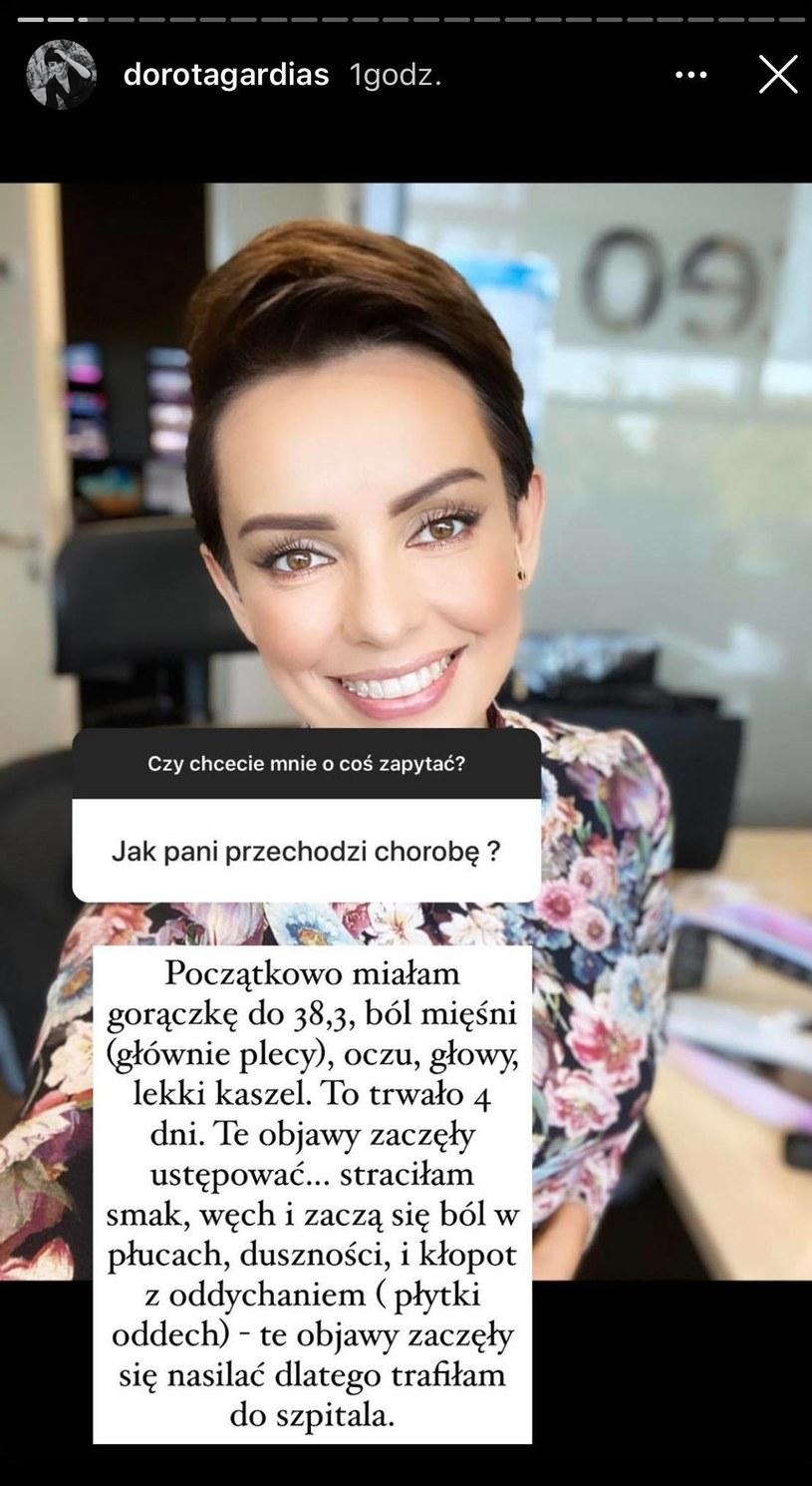 Dorota Gardias opowiedziała o przebiegu choroby /Screen - InstaStory Doroty Gardias /materiał zewnętrzny