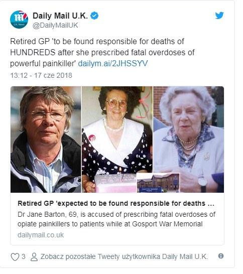 Dr Jane Barton może być odpowiedzialna za śmierć wielu pacjentów /Twitter