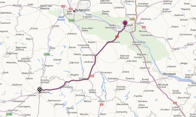 Droga krajowa nr 15  - na odcinku od Torunia do Gniezna - jest zamknięta /Map24.interia.pl