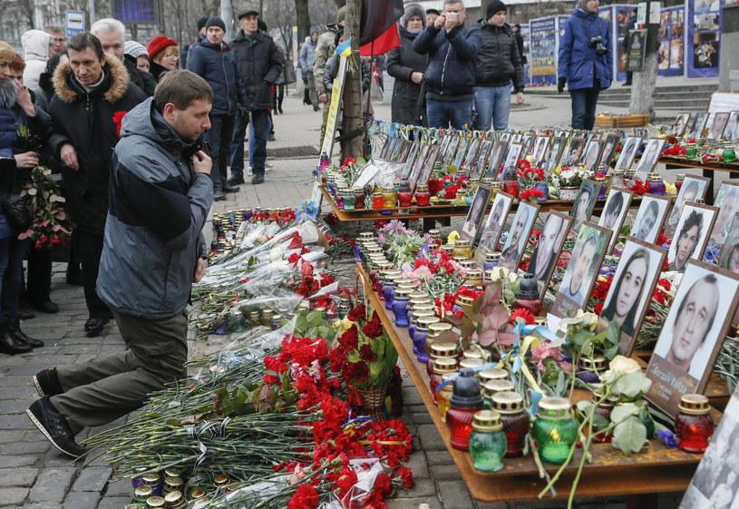 Druga rocznica masakry podczas protestów na Majdanie /SERGEY DOLZHENKO /PAP/EPA