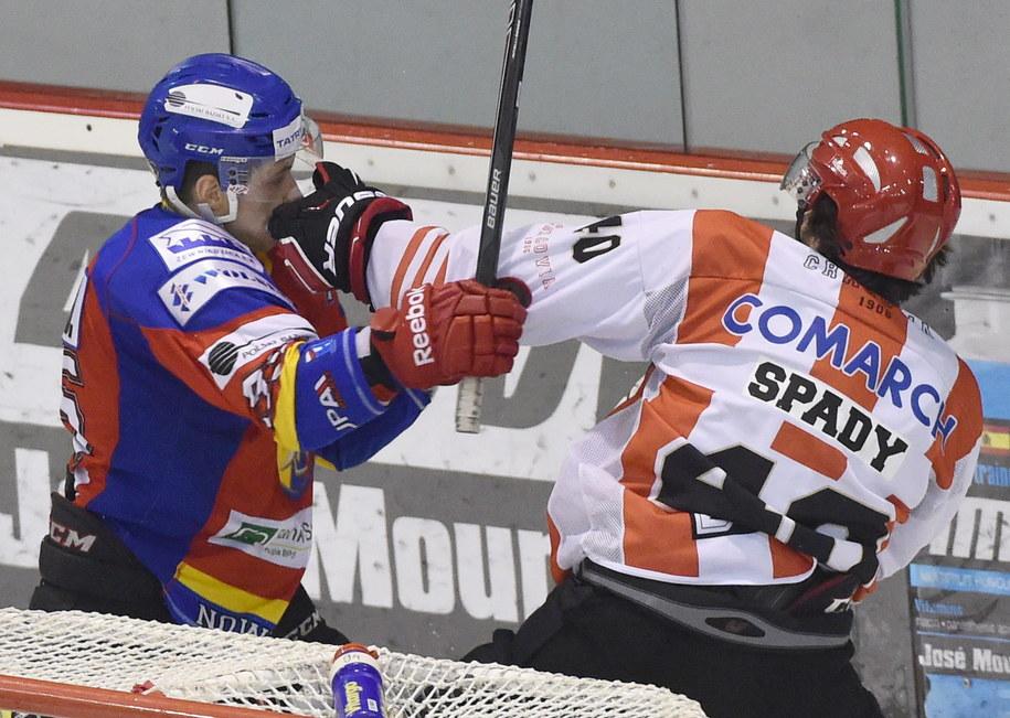Drugi mecz ćwierćfinału play off Polskiej Hokej Ligi pomiędzy Comarch Cracovią i MMKS Podhalem Nowy Targ. Argumenty wymieniają na pięści Damian Kapica (po lewej) i Erik Spady /Jacek Bednarczyk /PAP