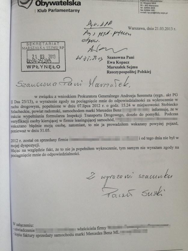 Drugie oświadczenie Pawła Suskiego /RMF