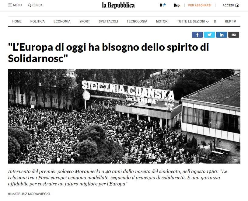 """""""Duch Solidarności potrzebny jest współczesnej Europie"""" /repubblica.it /"""
