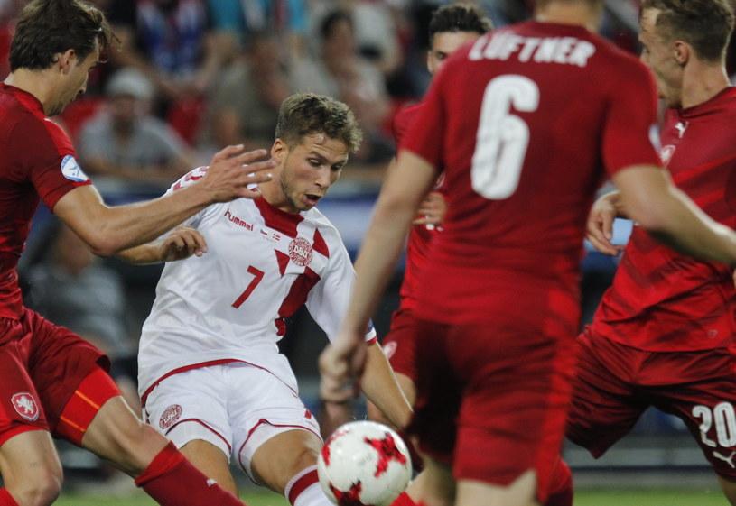 Duńczyk Andrew Hjulsager podczas meczu z Czechami /Andrzej Grygiel /PAP