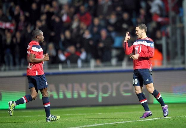Dwa gole Edena Hazarda (z prawej) nie wystarczyły, by Lille pokonało Auxerre /AFP