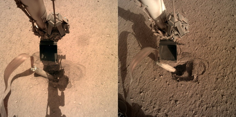 Dwa spojrzenia na stanowisko Kreta - po lewej zdjęcie z 15 lutego 2020, po prawej zdjęcie z 23 lutego 2020. Widoczny ruch manipulatora misji InSight / Credits - NASA /NASA
