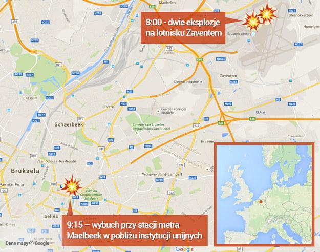 Dwa zamachy w Brukseli /Google Maps /RMF FM