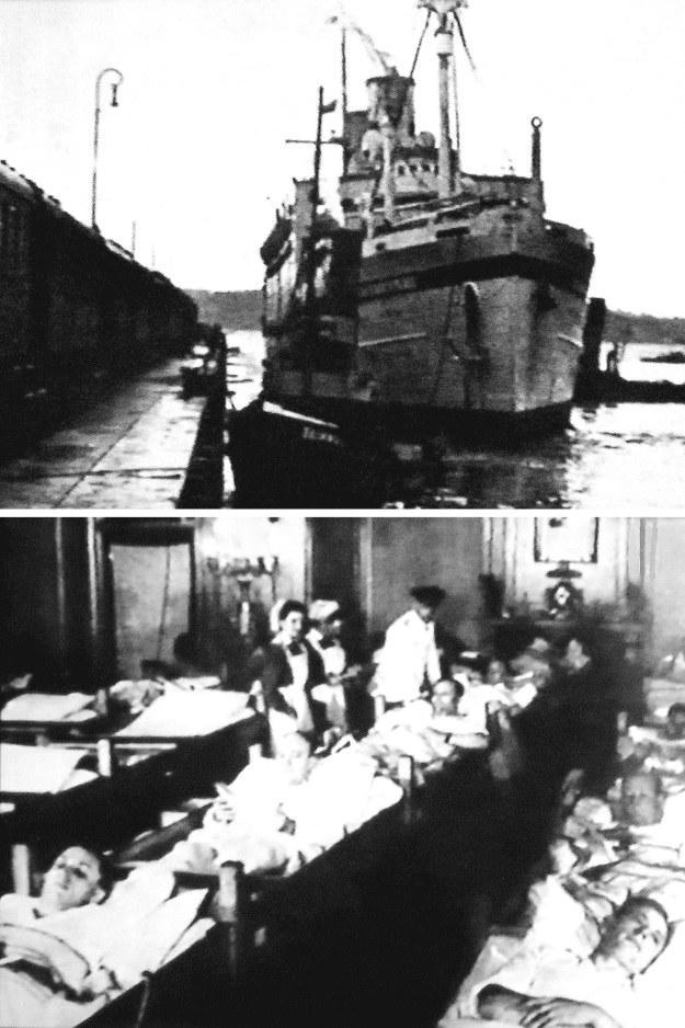 """Dwa zdjęcia statku szpitalnego """"Stuttgart"""" zamieszczone podczas wojny przez ilustrowany magazyn niemiecki /Odkrywca"""