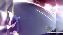 Dwaj bohaterscy policjanci uratowali kierowcę płonącej ciężarówki tuż przed tym, zanim wybuchła