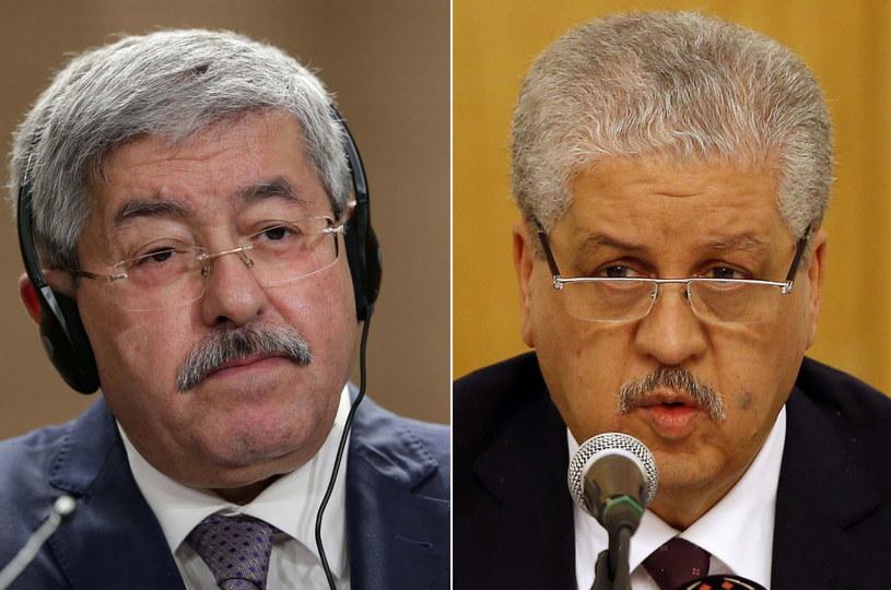 Dwaj byli premierzy Algierii Ahmed Ujahia i Abdelmalek Sellal. /MOHAMED MESSARA /PAP/EPA