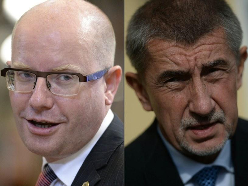 Dwaj przeciwnicy polityczni - Bohuslav Sobotka i Andrej Babisz /THIERRY CHARLIER AND MICHAL CIZEK /AFP