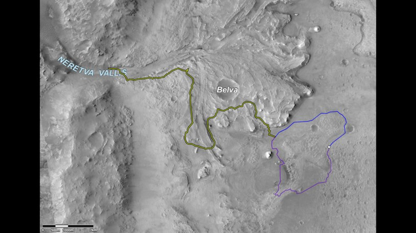 Dwie możliwe ścieżki Perseverance do celu /NASA