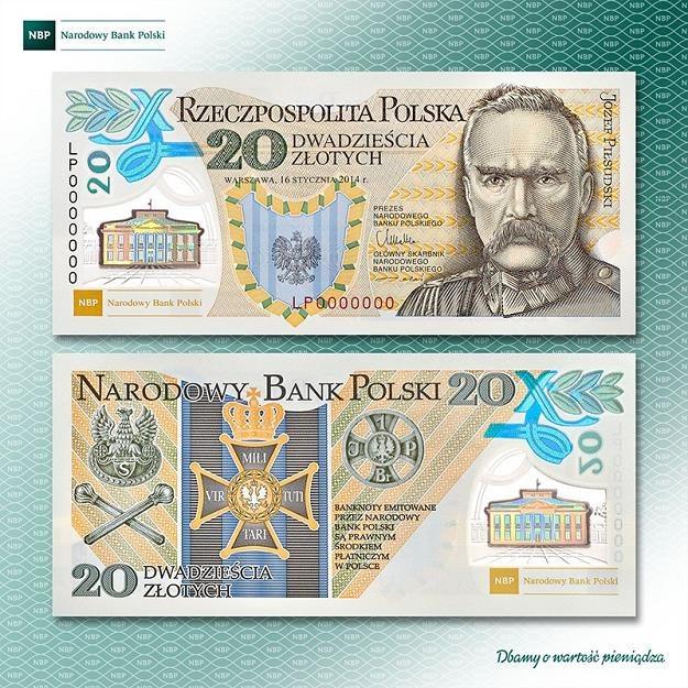 """Dwudziestozłotowy banknot """"100. rocznica utworzenia Legionów Polskich"""" /NBP"""