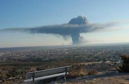 Dym nad miejscem wybuchu i pożaru /Twitter