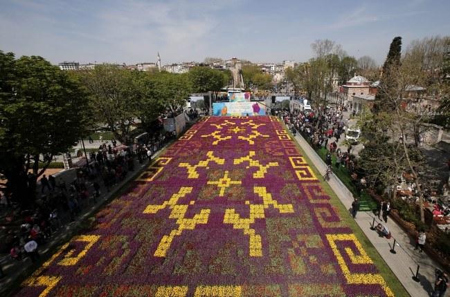 Dywan z tulipanów w Stambule, według władz - największy na świecie. /SEDAT SUNA /PAP/EPA